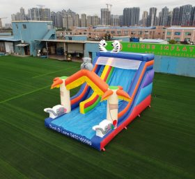 T8-732 Outdoor inflatable giant dry slide animal theme for commercial used