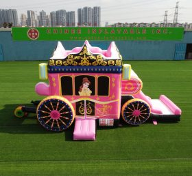 T5-672 Disney pink princess carriage combo bouncer with slide party event
