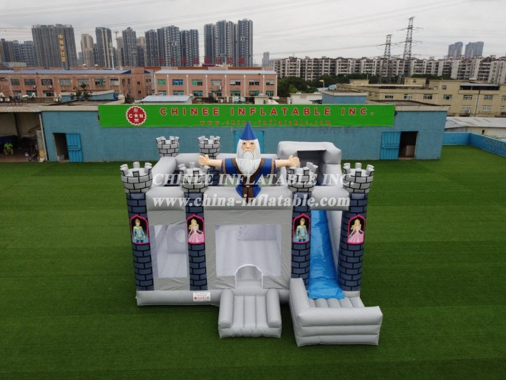 T2-346 Princess theme combo inflatable castle bounce house with slide