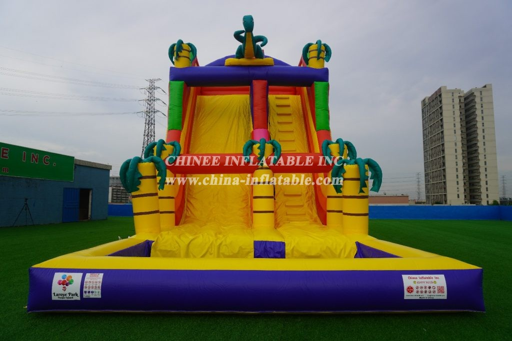 T8-1413 inflatable dinosaur slide with pool