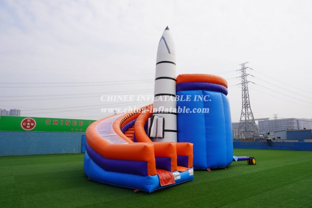T8-133 rocket space travel theme with slide commercial party fun for kids inflatabel combo