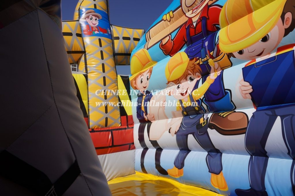 T8-1518 Inflatable little builders slide