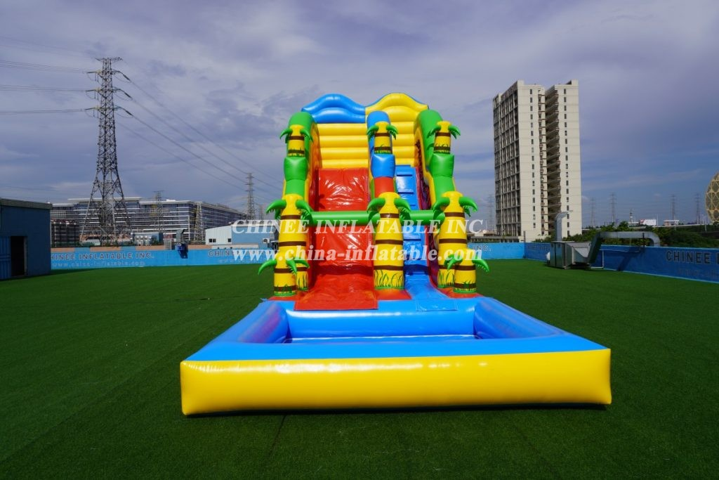 T8-1410B Outdoor tropical inflatable wave water slide with pool
