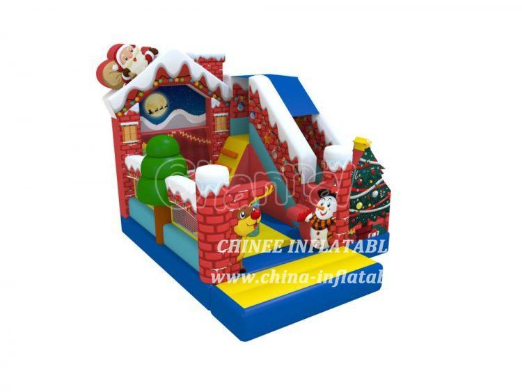 T2-3458 Christmas Eve Bounce House Slide