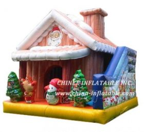 T2-3472 Santa's House Bounce House With Slide