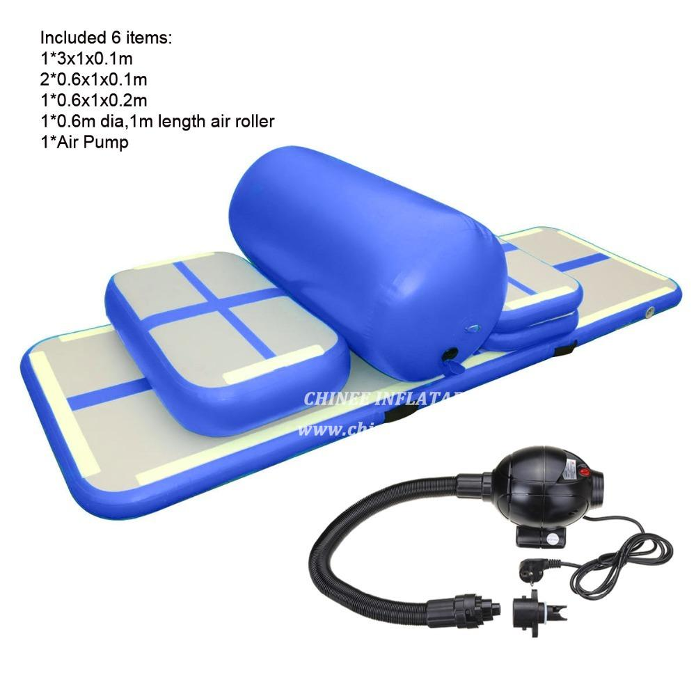 AT1-077 6 Pieces(4 Mat+1 Roller+1 Pump)inflatable Home Gym Equipment Air Track Training Set / Air Gym Mat For Home Edition