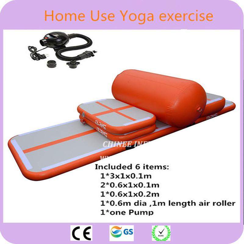AT1-011 6 Pieces(4 Mat+1 Roller+1 Pump)inflatable Home Gym Equipment Air Track Training Set / Air Gym Mat For Home Edition