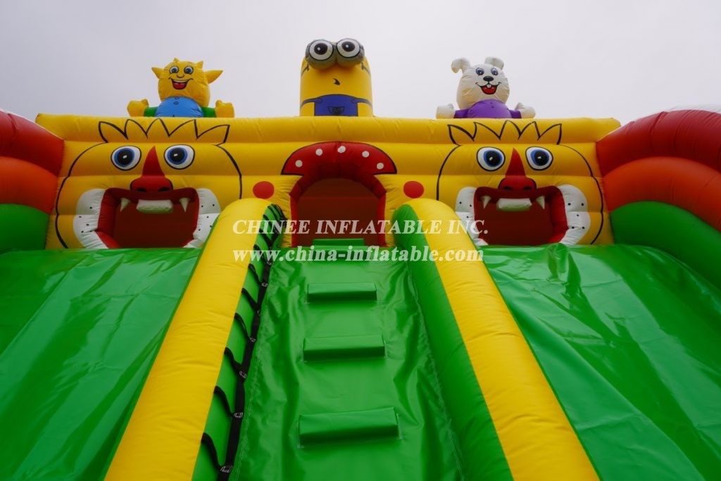 T6-435 Inflatable Minion slide Angry birds castle