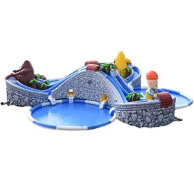 Pool2-700 Giant inflatable slide with inflatable swimming pool for water park