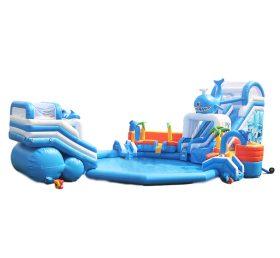 Pool2-713 Amusement Park Inflatable Water Slide Pool Giant Summer Water Park Game
