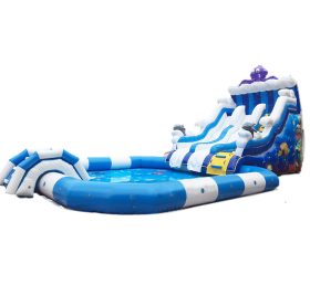 Pool2-715 Commercial Amusement Game Outdoor Inflatable Big Water Slide Pool