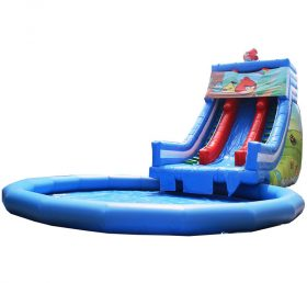 Pool2-714 Angry Birds Commercial floating inflatable swimming pool with water slide