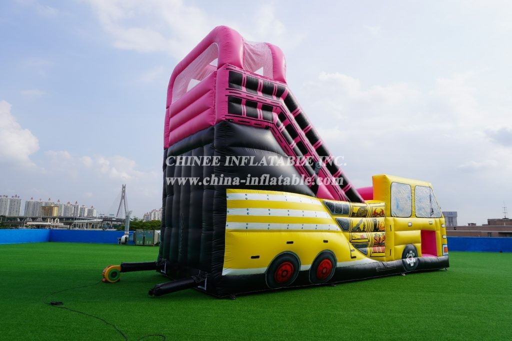 T8-457 Inflatable fire truck with slide