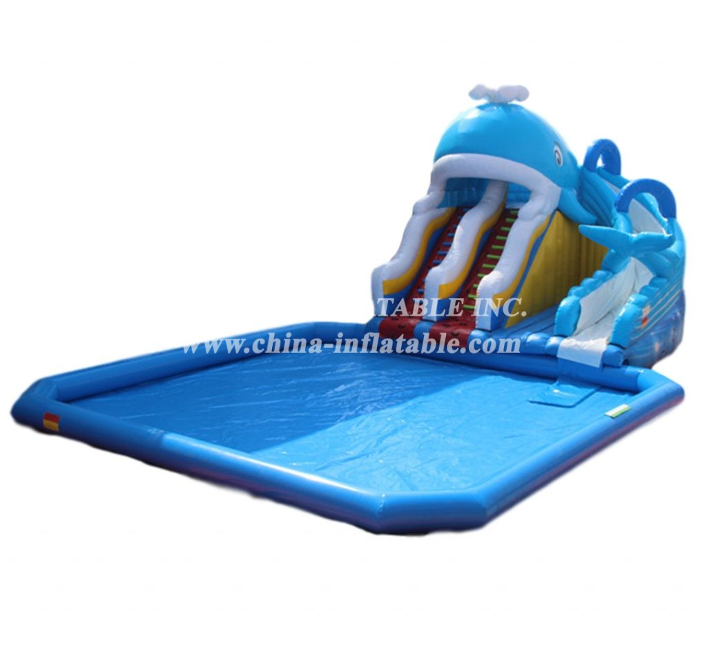 Pool2-731 whale Inflatable Slide with pool