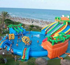 Pool2-723 Large Inflatable Swimming Pool With Slides