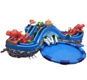 Pool2-729 Tarpaulin Inflatable Jurassic Park With Slide And Pool