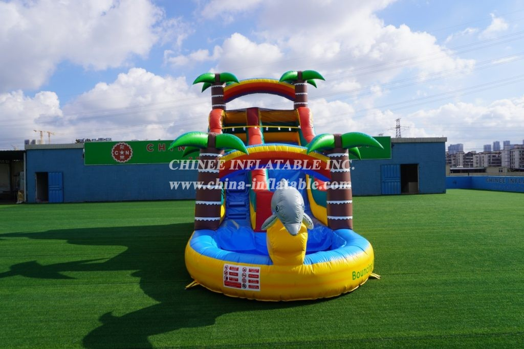 T8-1332 Dolphin theme inflatable palm tree water slide kids party adults inflatable slide with pool