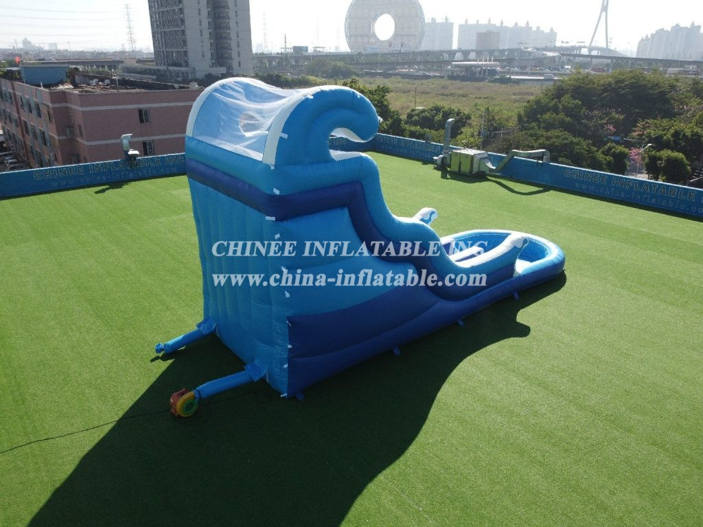 T8-623 Giant inflatable wave slide with pool