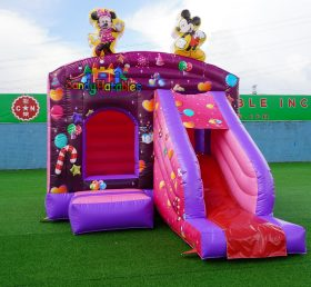 T2-1884B Mickey and Minnie inflatable bouncer jumping with slide