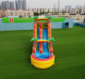 T8-3805 jungle theme with coconut tree commercial party fun for kids inflatabel water slide with pool