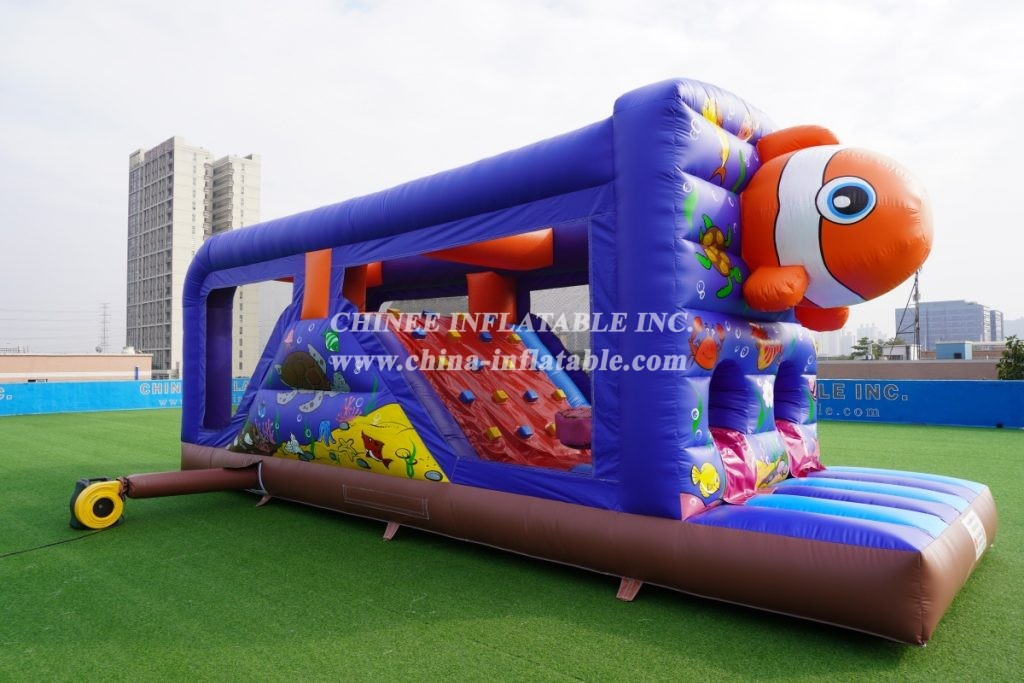 T7-1248 Undersea clownfish Inflatable Kids Marine Themed Obstacle Course with slide