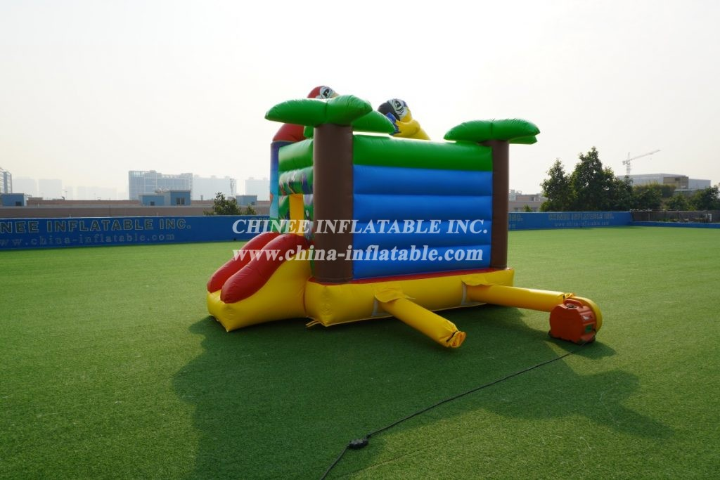T2-005B inflatable combo with slide palm trees parrot animal theme