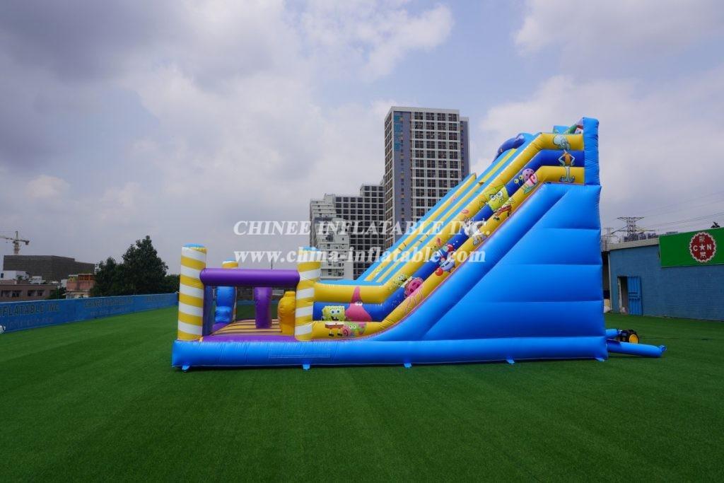 T8-3806 Outdoor bouncy castle with slide Spongebob funcity