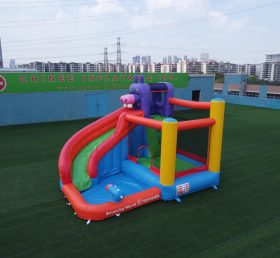 T8-3809 Kids hippo water slide bounce house colorful wet combo