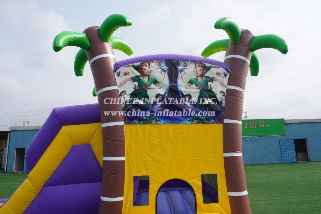 T2-3345 PAW Patrol Purple palm tree water slide outdoor bounce house combo slide